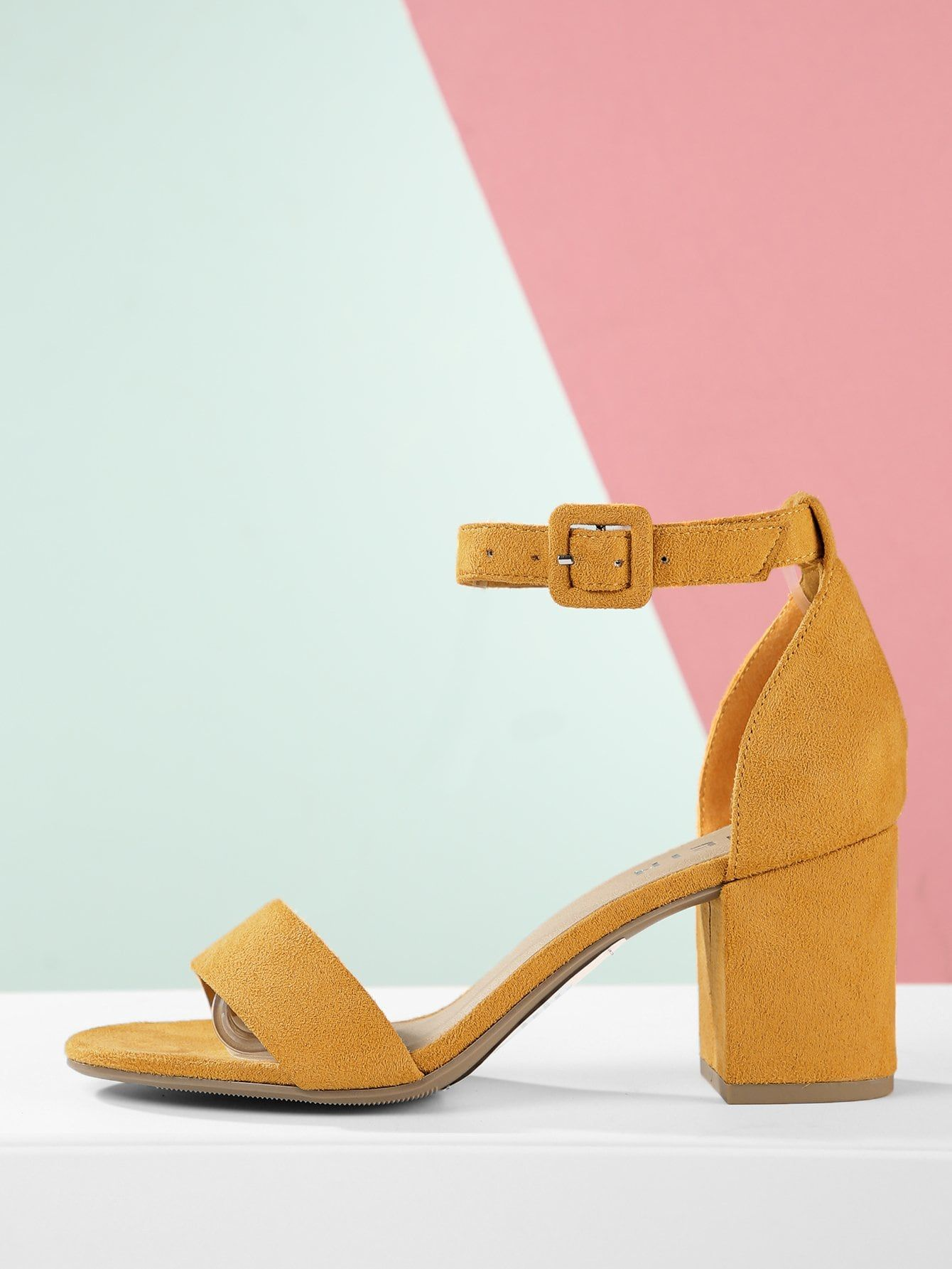 898b0b7c4a6 Business Casual Open Toe Ankle strap Yellow Mid Heel Chunky Faux ...