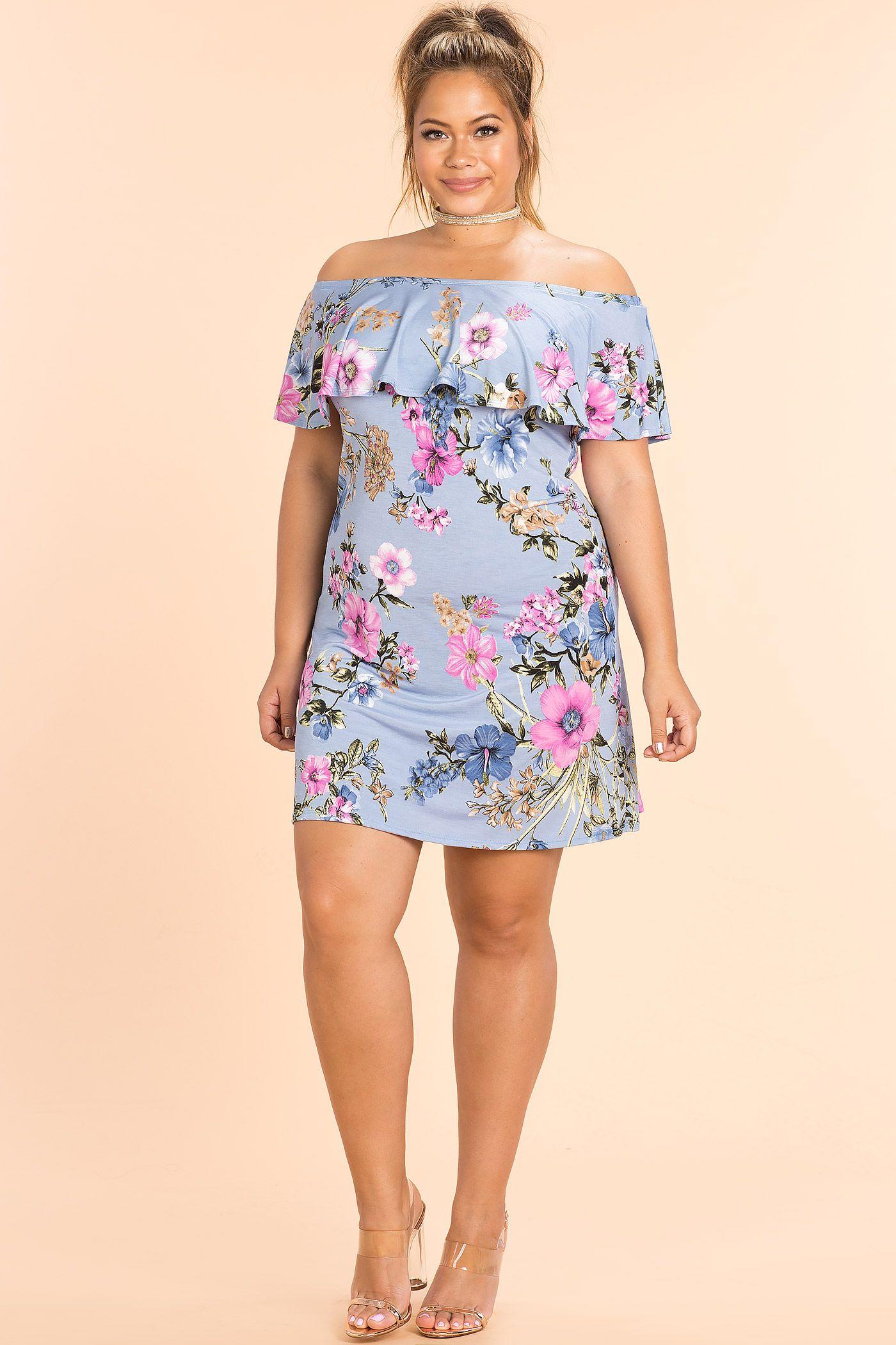 310ce4872931 Plus Size Fashion - Plus Size Graceland Floral Off Shoulder Dress (plus size)   plussizefashion  dress