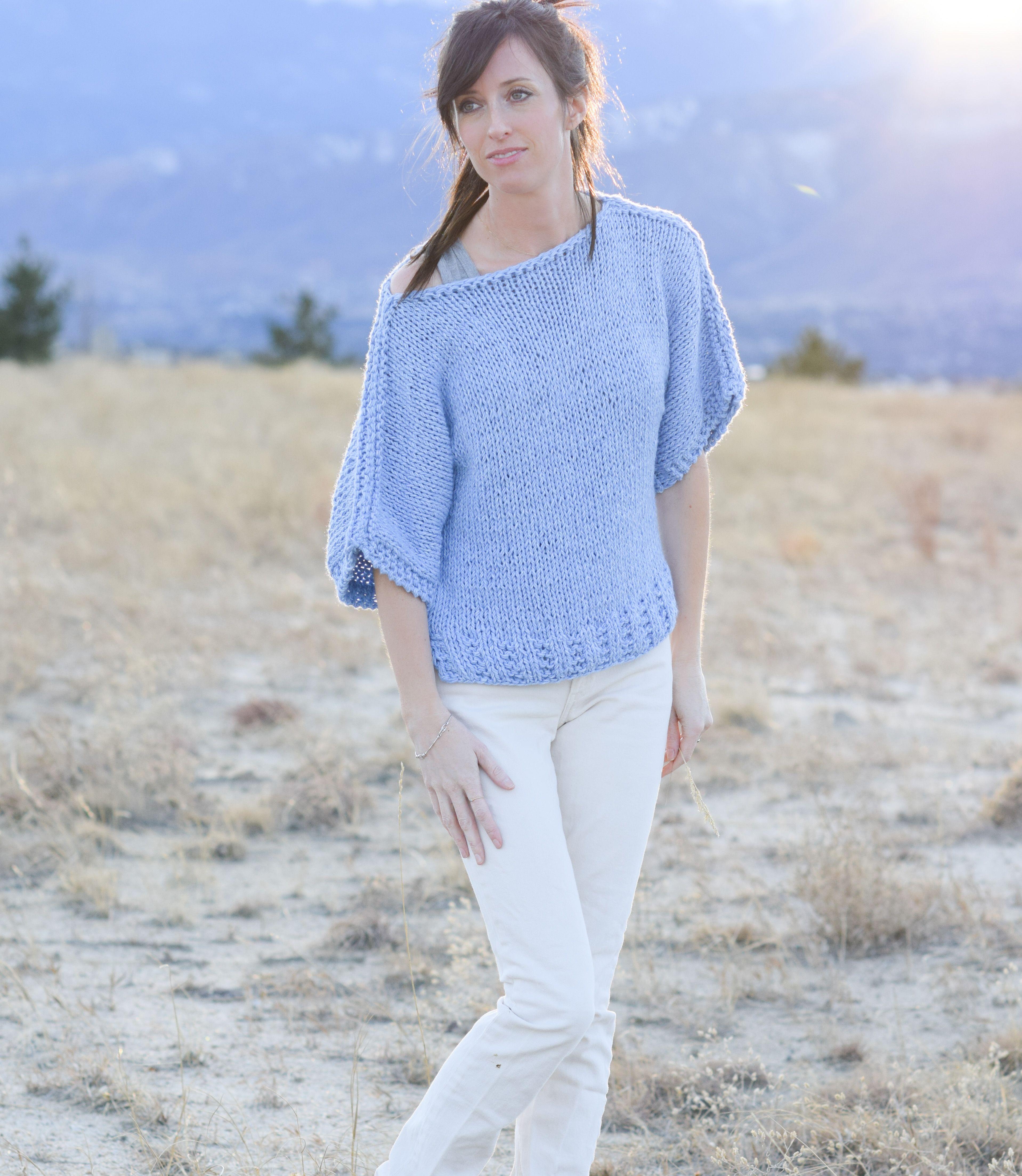 boxy-knit-t-shirt-sweater-beginner-pattern-lion-brand-jeans-yarn-1 ...