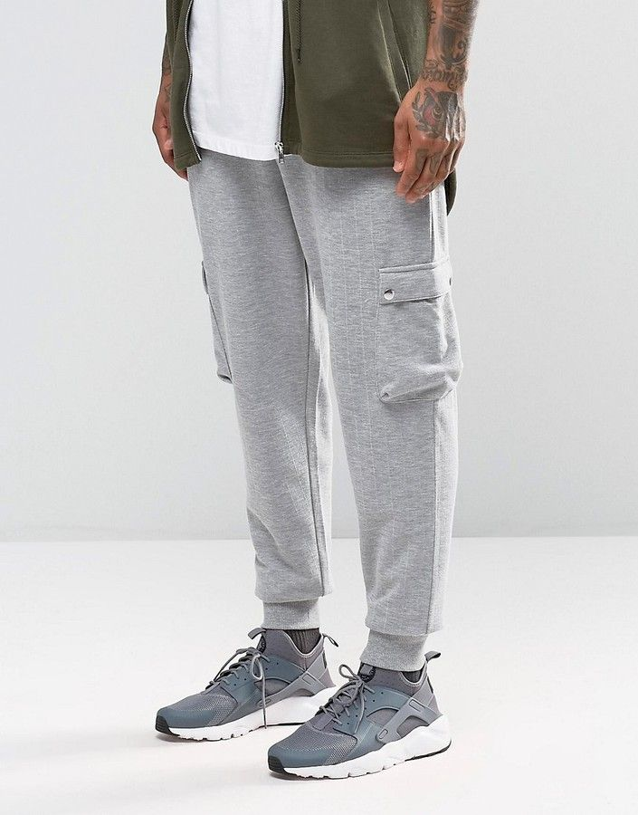 ASOS BRAND ASOS Standard Joggers In Gray Rib With Cargo Pockets
