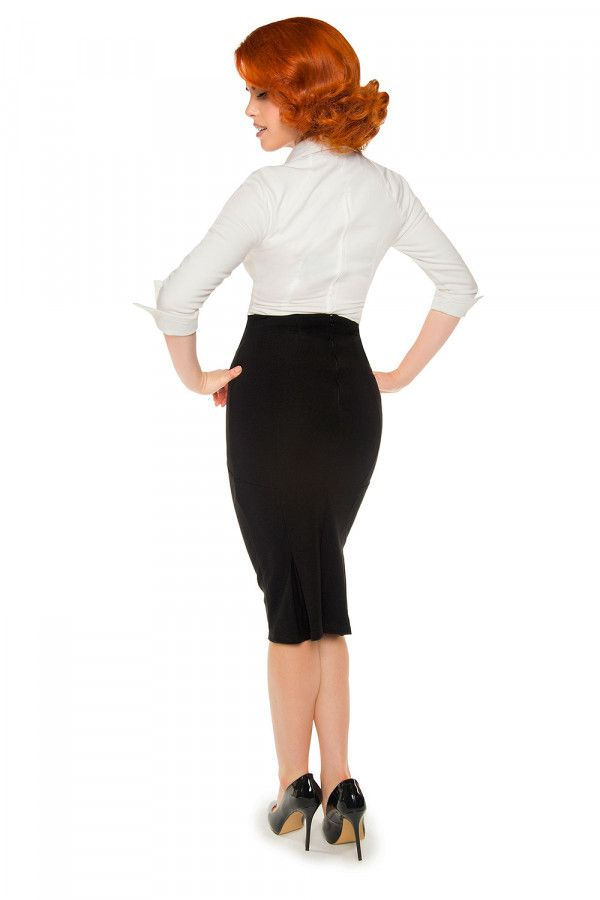 Laura Byrnes California High Waisted Seamed Pencil Skirt in Black Ponte b0de0a480