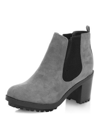 108e8ad6cb0f Wide Fit Grey Cleated Sole Chelsea Boots
