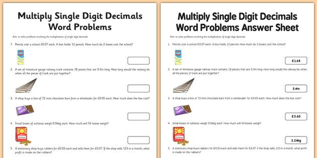 Year 6 Multiply Single Digit Decimals Word Problems Activity Sheet
