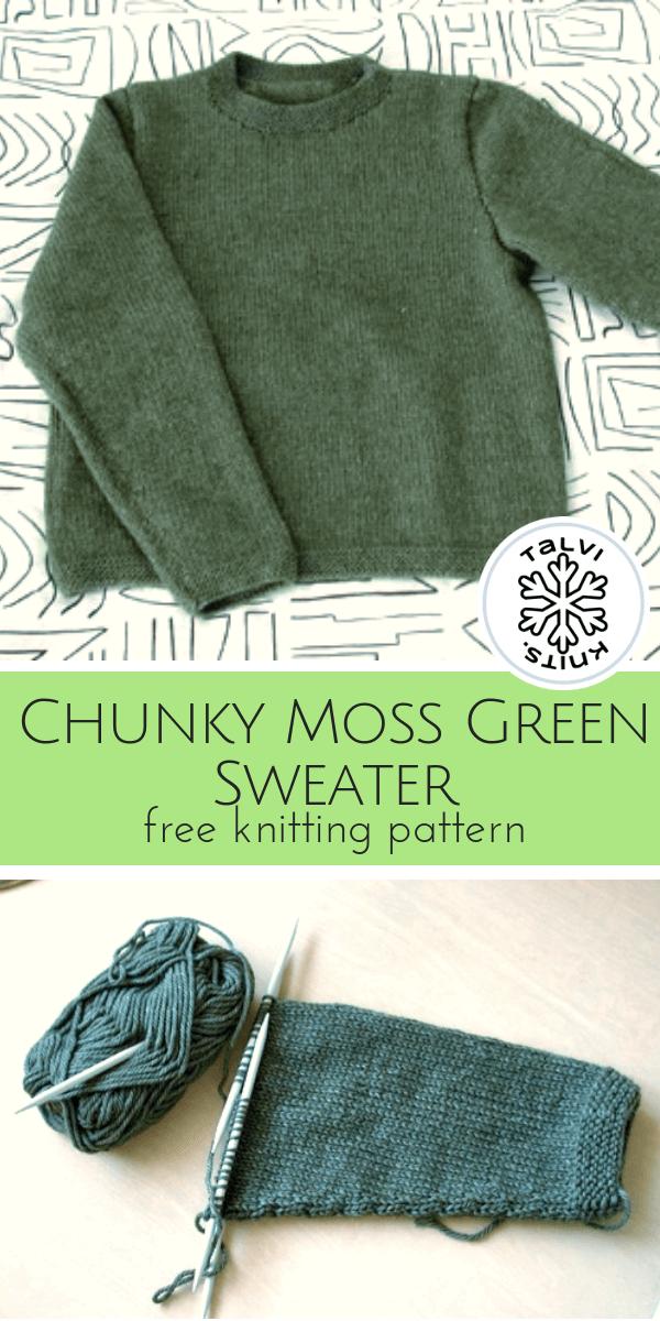 Chunky Moss Green Sweater A Free Knitting Pattern From Talvi