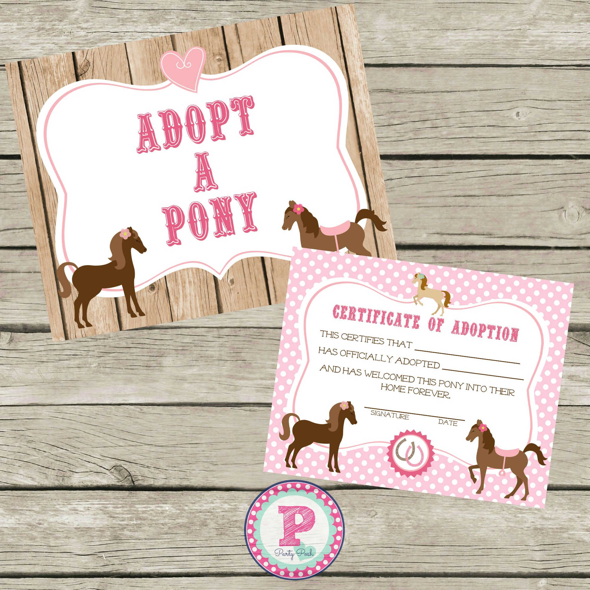 Adopt a pony sign and adoption certificate instant download for a adopt a pony sign and adoption certificate instant download for a horse birthday party yadclub Choice Image