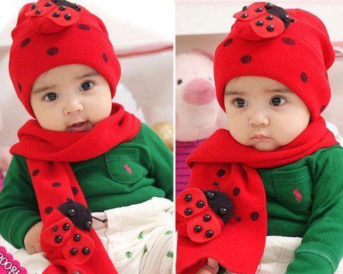 Fashion Winter Warm Baby Boys Girls Hat Scarf Knitted Cotton Ladybug Animals