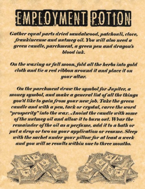 Employment Potion, Book of Shadows Pages, BOS Pages, Rare Witchcraft