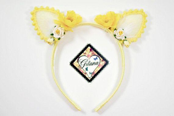 Yellow Cat Ear Headband Lolita Headband-Girl by DesignsbyGitana