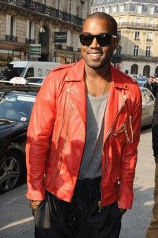 Kanye West In His Red Motorcycle Jacket At Fashion Week Jackets Men Fashion Leather Jacket Mens Jackets