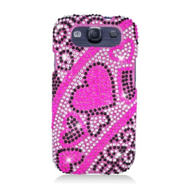 Insten Hearts Hard Snap-on Rhinestone Bling Case Cover For Samsung Galaxy S3 #2317627