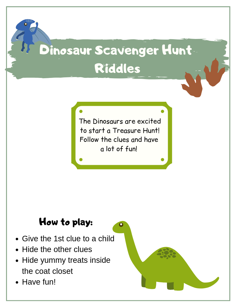 Dinosaur Birthday Scavenger Hunt Scavenger Hunt Birthday Scavenger Hunt Clues Dinosaur [ 1056 x 816 Pixel ]