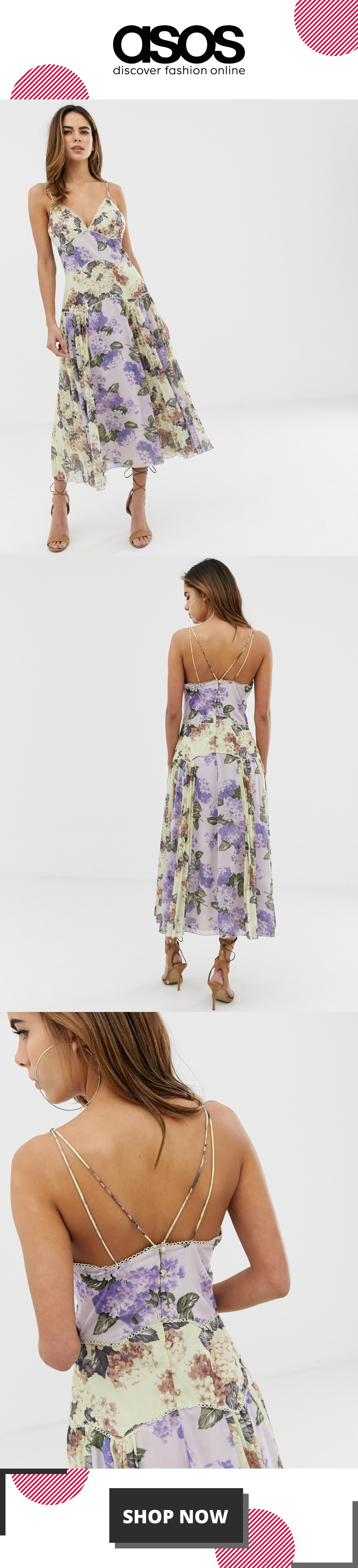 ASOS DESIGN cami midi dress in mixed floral with pleat and lace trim