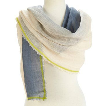 Check out this item at One Kings Lane! Linen Ombré Neon Scarf, Ivory/Gray