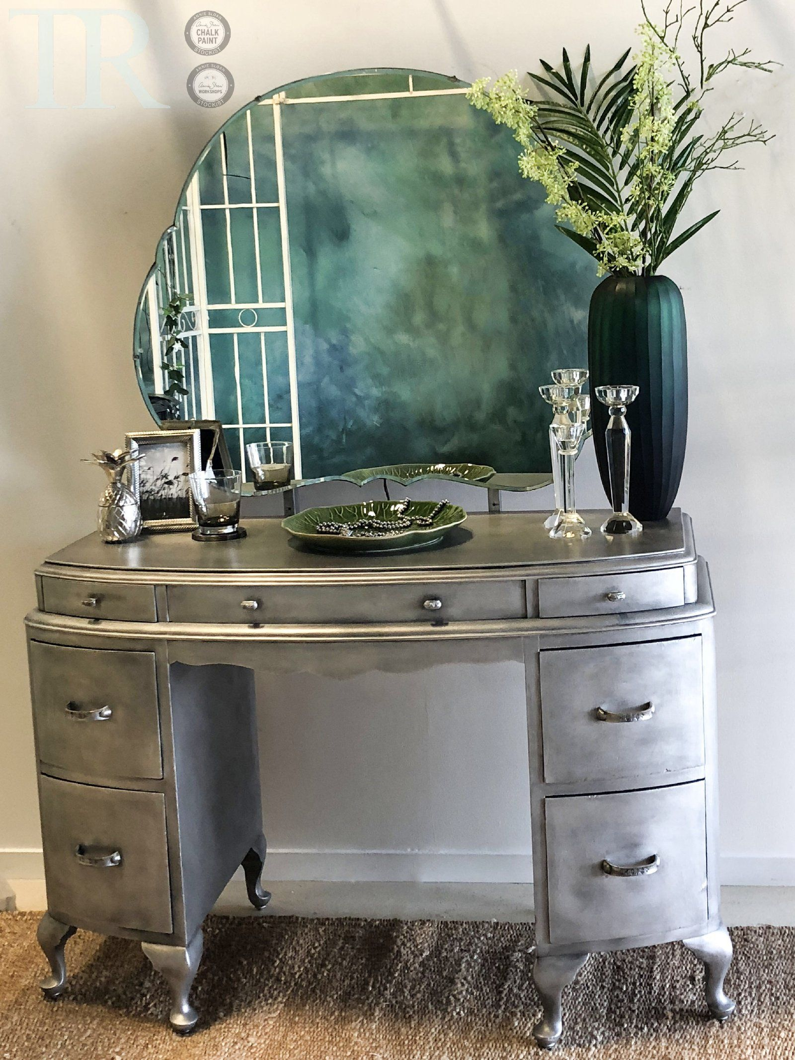 Khloe Aged Brushed Silver Dressing Table Shabby Chic Dresser Silver Furniture Shabby Cottage Decor