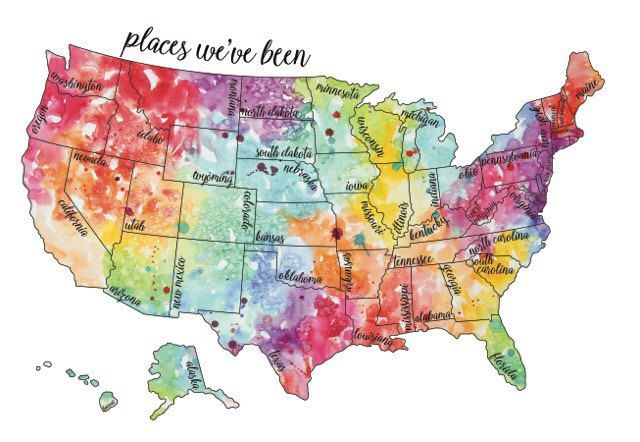 Watercolor Scratch Off Map Travel Map United States Map Usa - Scratch-us-map