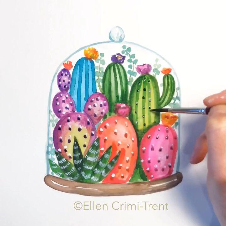 A fun watercolor painting #art #cactus #watercolor #watercolorarts #artwork #wallart #homedecor #southwest #painting