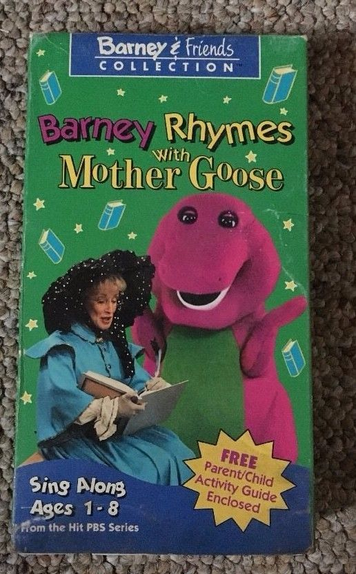 Barney Rhymes With Mother Goose Vhs Friends Sing Along 90s Children Toddler Parent Child Activity Barney Friends Barney