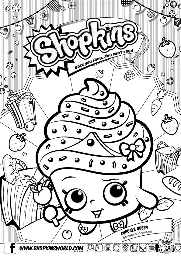 Shopkins Colour Color Page Cupcake Queen ShopkinsWorld