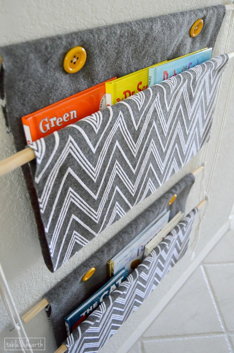 Hanging Book Holder Table And Hearth Kids Book Storage Book Sling Coloring Book Storage