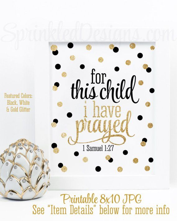 For This Child I Have Prayed Wall Art Printable Sign Baby Girl