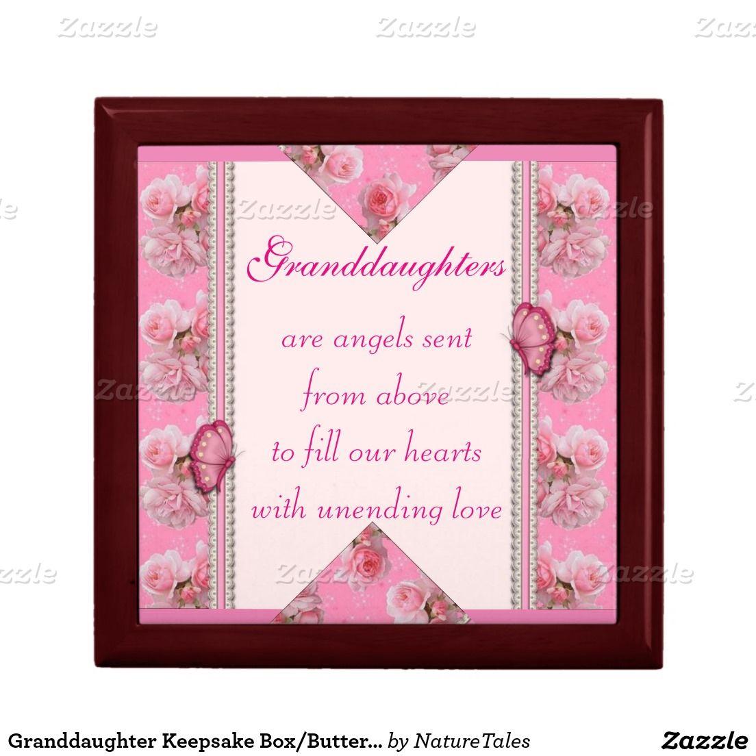 Granddaughter Keepsake Box/Butterfly & Roses Trinket Boxes