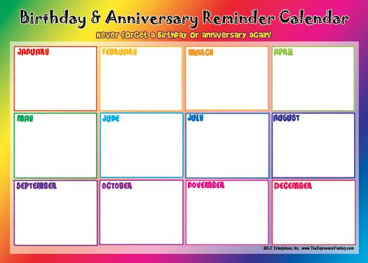 Birthday And Anniversary Calendars  DonT Forget To Click Add