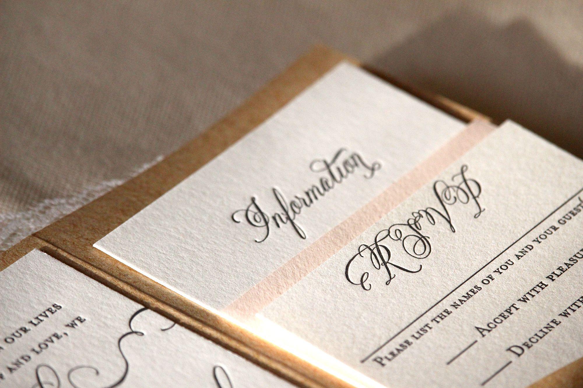 Blush And White Rustic Letterpress Printed Wedding Invitation