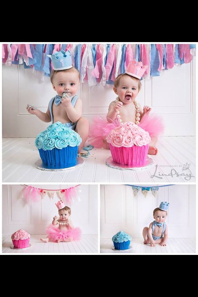 Idea For Twins Smash Cake Sesh Twin Birthday Cakes Twin