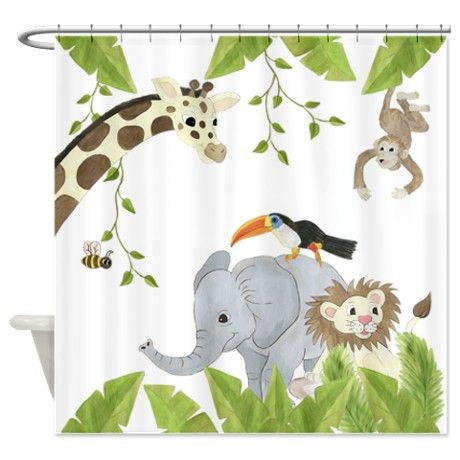 Jungle Animal Shower Curtain On Cafepress Com Bathroom For The