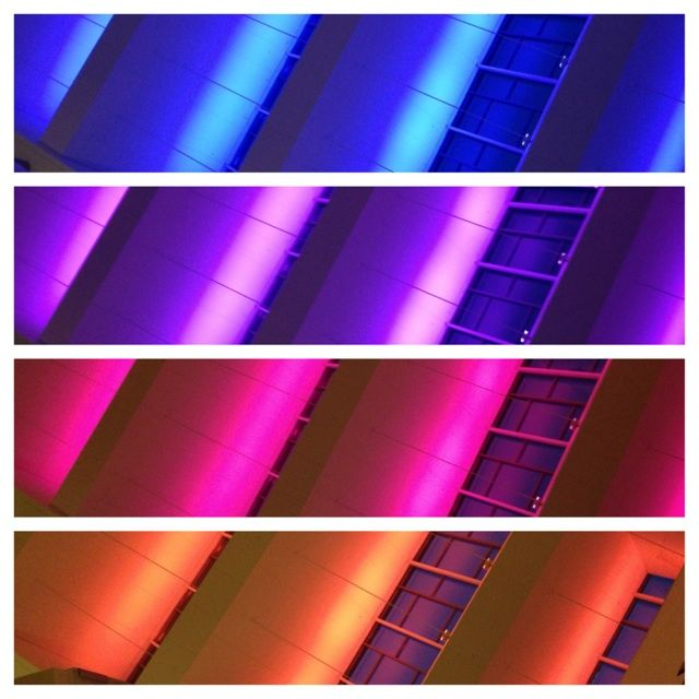 Choose your color, our jigsaw ceiling uplighting can match your event.
