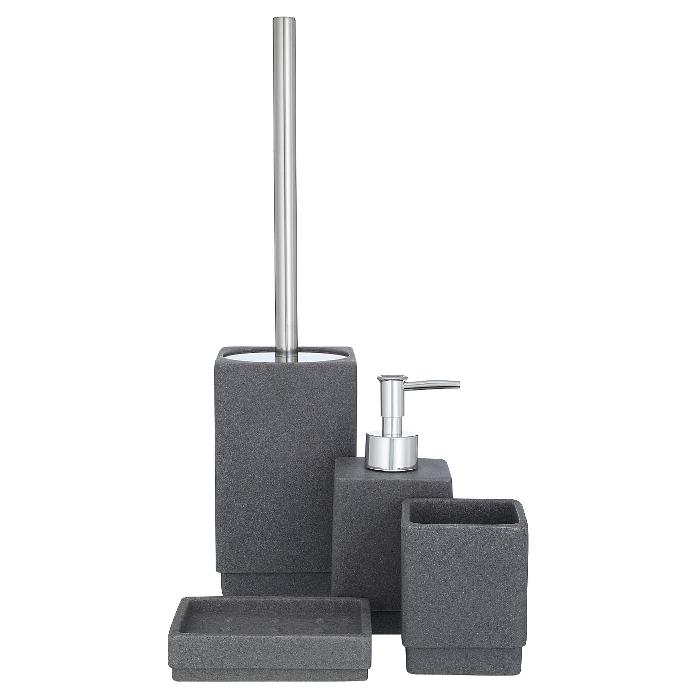 george home bathroom accessory range charcoal sandstone bathroom accessories asda direct - White Bathroom Accessories Uk