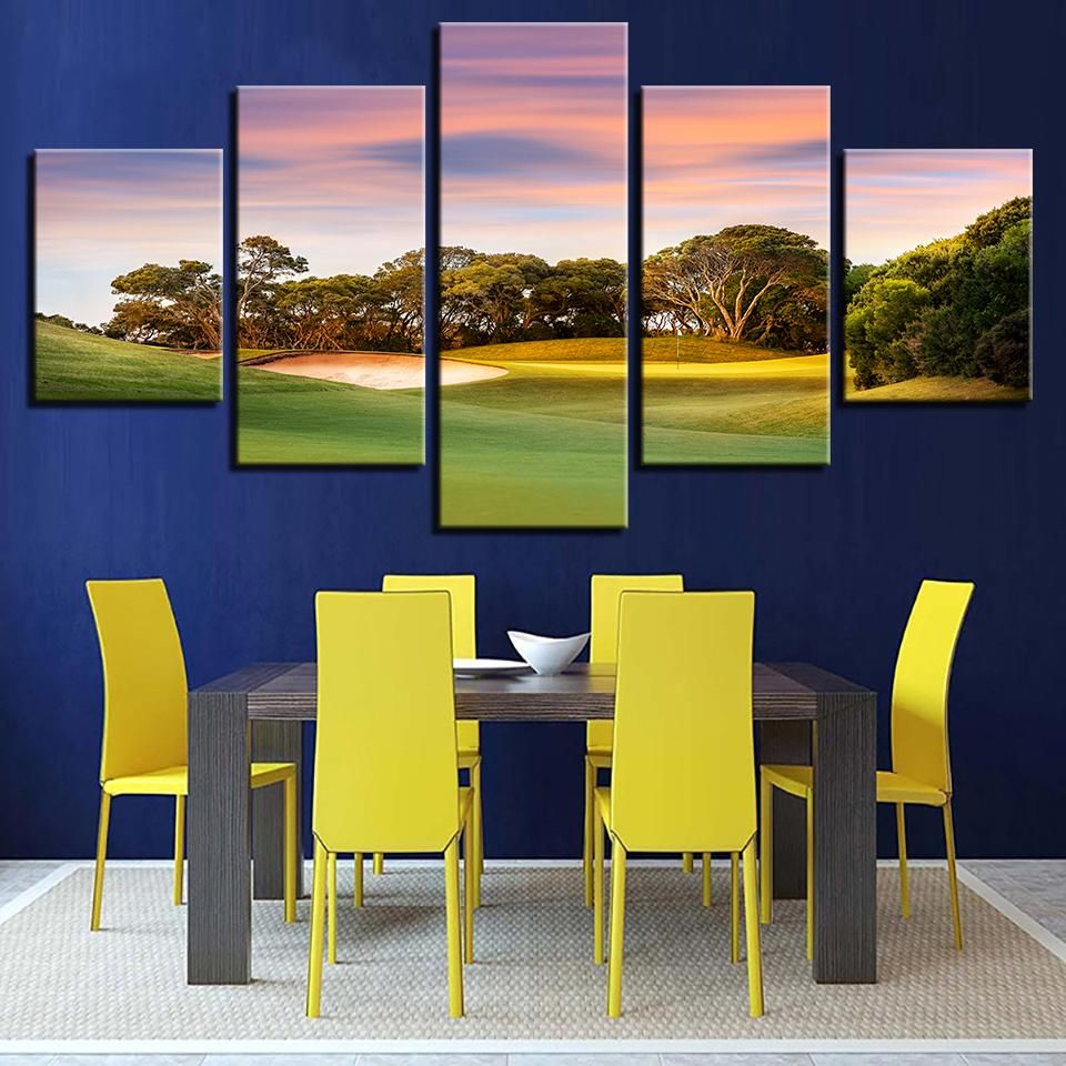 Modern Printing Type Poster Canvas Painting 5 Panel Golf Course HD ...
