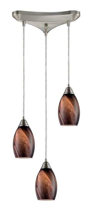 "Elk Lighting 31133/3 Formations 3 Light 10"" Wide Multi Light Pendant with Triang Satin Nickel /"