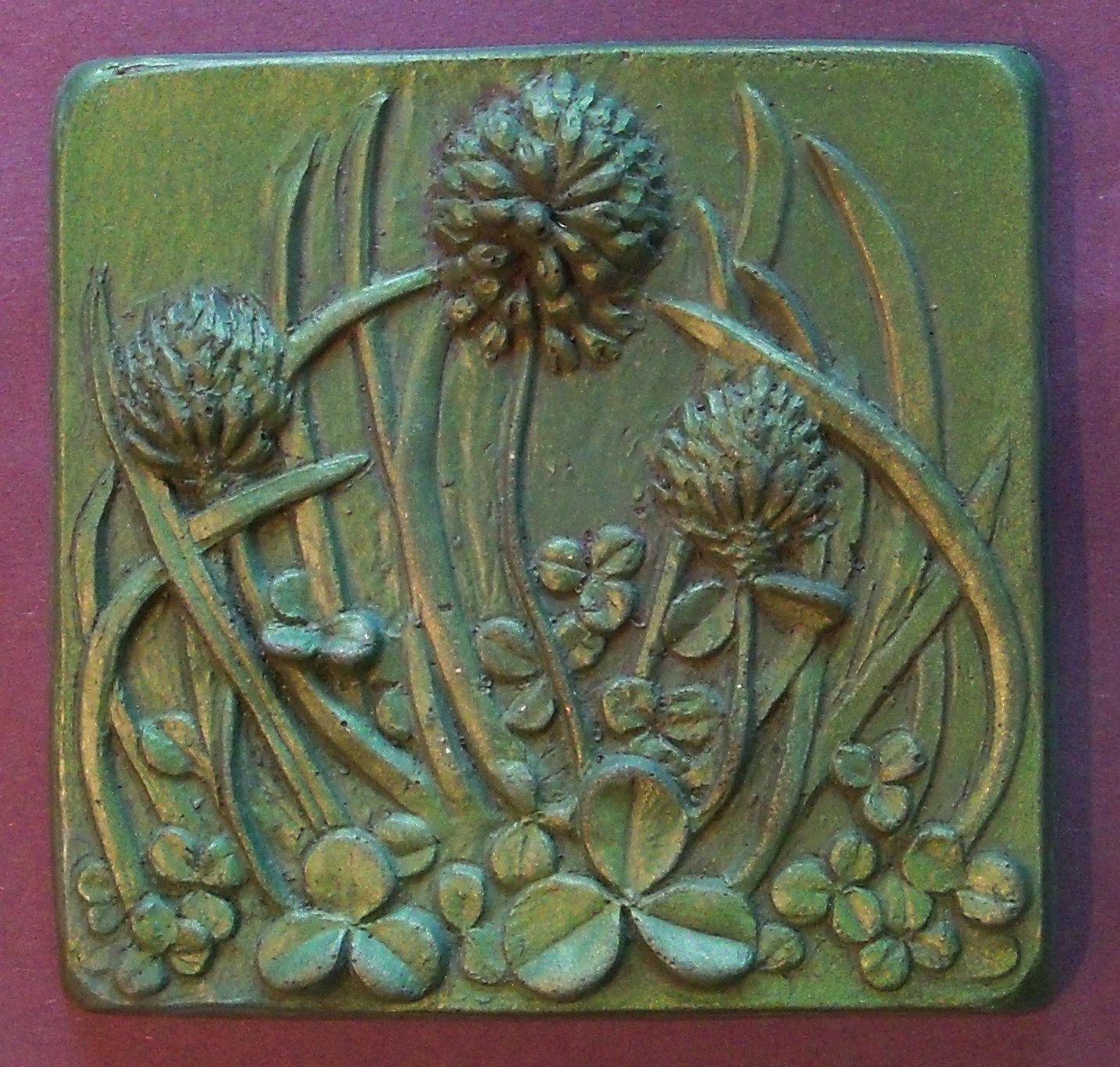Clover shamrock grass green wall cold cast bronze art