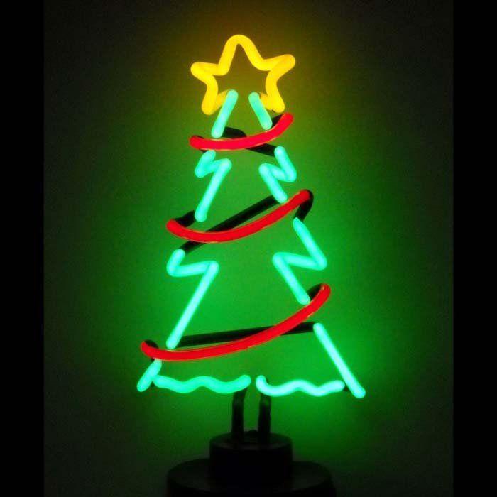 Neon Art Christmas Tree With Garland Neon Sculpture Retro Christmas Tree Neon Sculpture Neon Signs