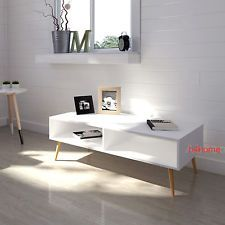 White Retro Coffee Table Scandinavian Tv Stand Vintage Room Furniture Wood Legs