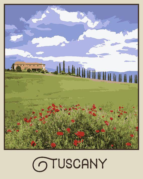 Tuscany Travel poster – Wall Art Vintage style Decor landscape Artistic Poster Glicée Illustration Home Colorful Gift – SKU 1144