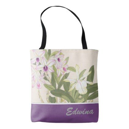 Japanese Wood Block Print Orchid Tote Bag Tote Bag Custom Bags