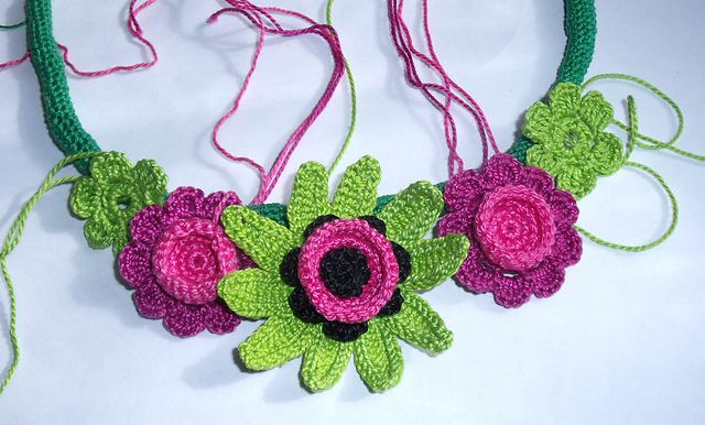 Ravelry Summer Crochet Flower Necklace Pattern By Tatiana