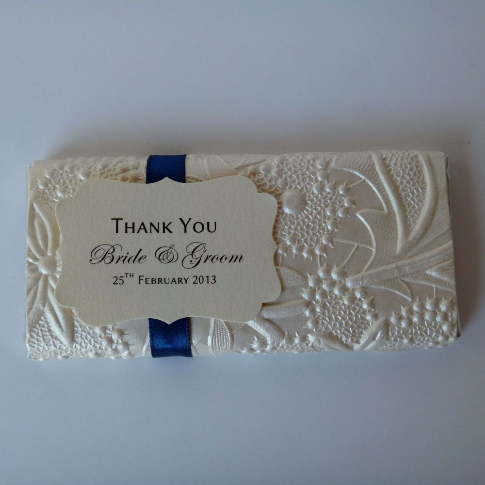 Personalised Chocolate Bars Bloom Design Wedding Favour Placecard In 1