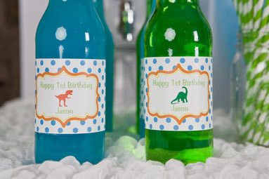 Dinosaur Water Bottle Labels Birthday Party