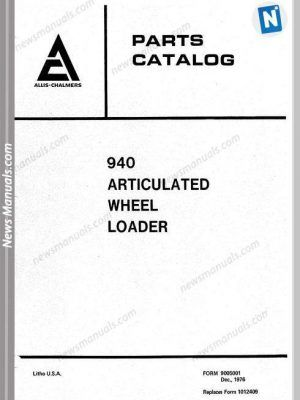 Allis Chalmers 940 Articulated Wheel Loader Part Manual, 2020