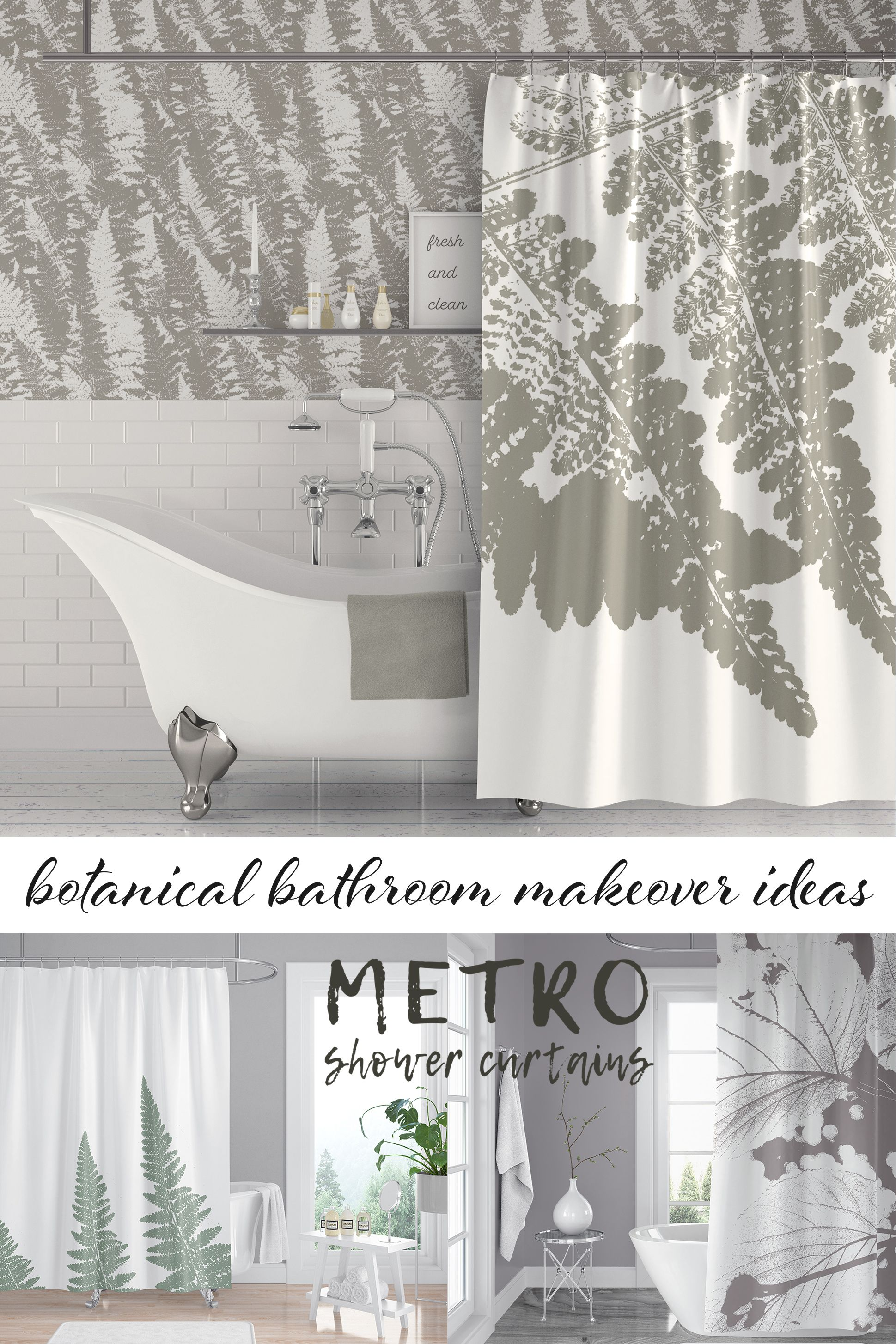 Love These Gray And White Bathroom Ideas Ferns Shower Curtains Beautiful Art Prints Want Small Bathroom Decor Botanical Bathroom Bathroom Makeover