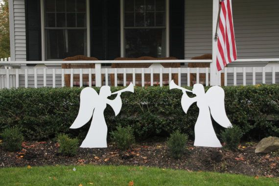 Christmas Angels Outdoor Wood Lawn Decoration by OneArtsyDay angel - outdoor angel christmas decorations