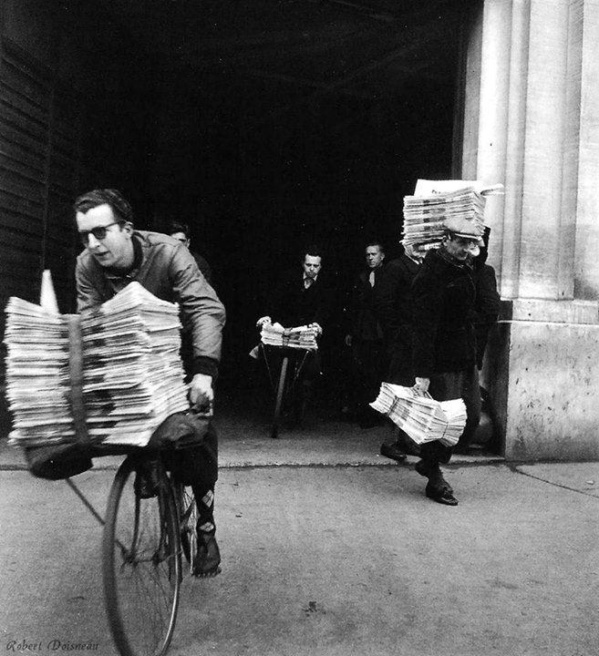"""Robert Doisneau // Le livreur de journaux Paris 1947. Photo from the book """"Pour que Paris soit"""""""