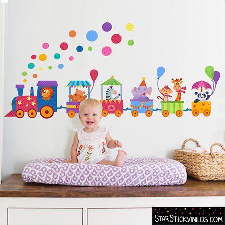Vinilo infantiles beb tren con animales y confeti de - Decoracion habitacion bebe vinilos ...