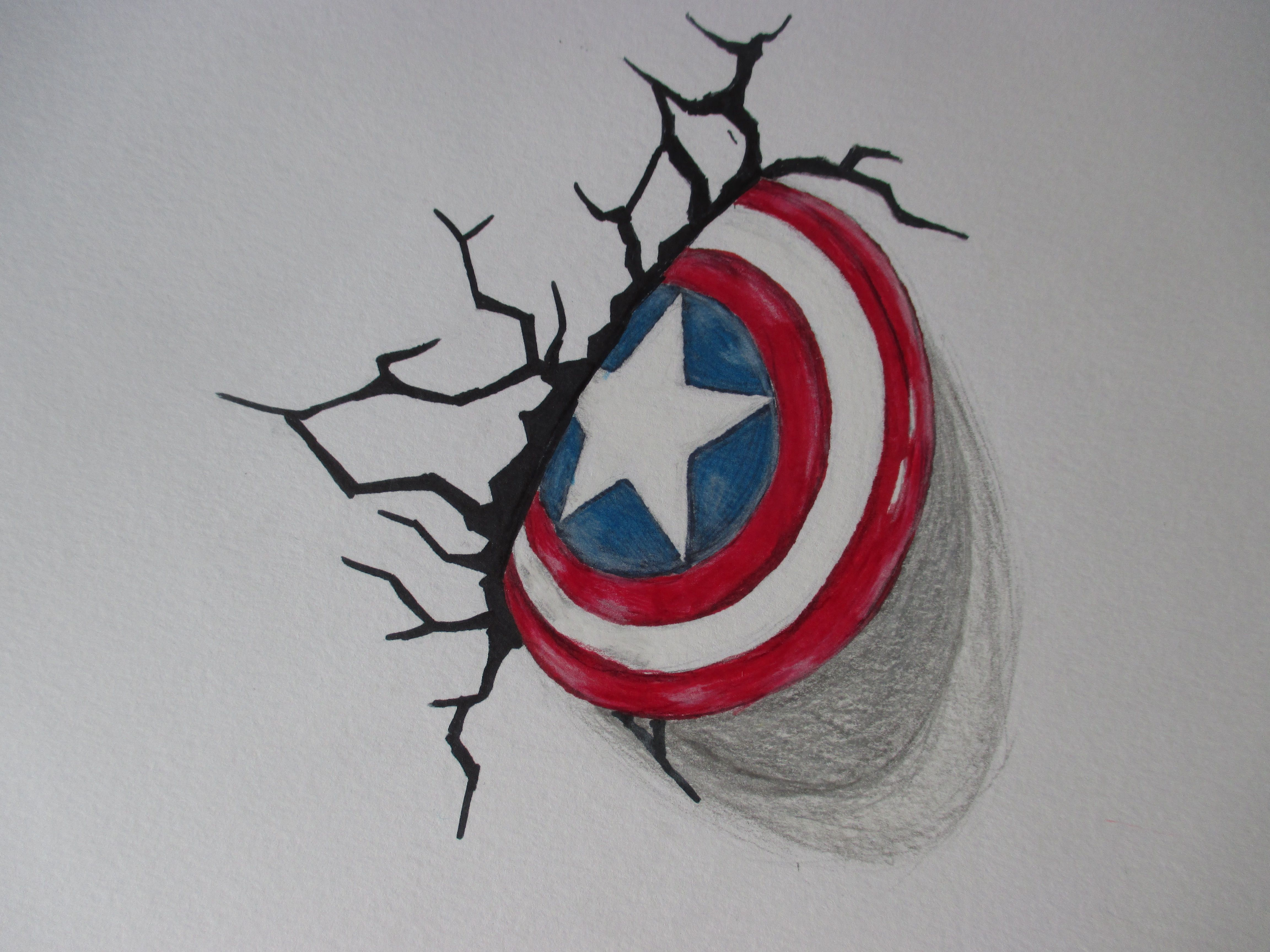 Captain America Shield Drawing: My 3D Captain America Shield Pencil/sharpie Marker Drawing