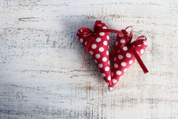Polka dot heart magnet raspberry red white home decor kitchen decor rustic shabby chic Valentines day decor, Valentine gift