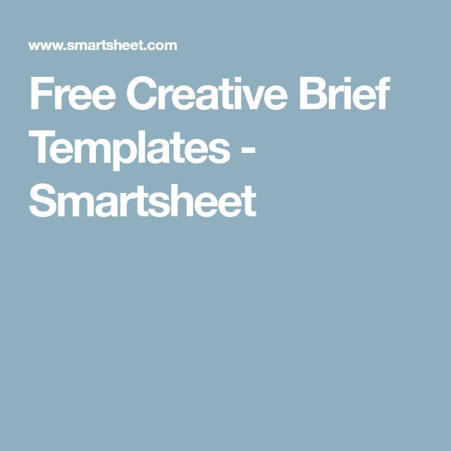 Free Creative Brief Templates  Smartsheet  Graphic Design