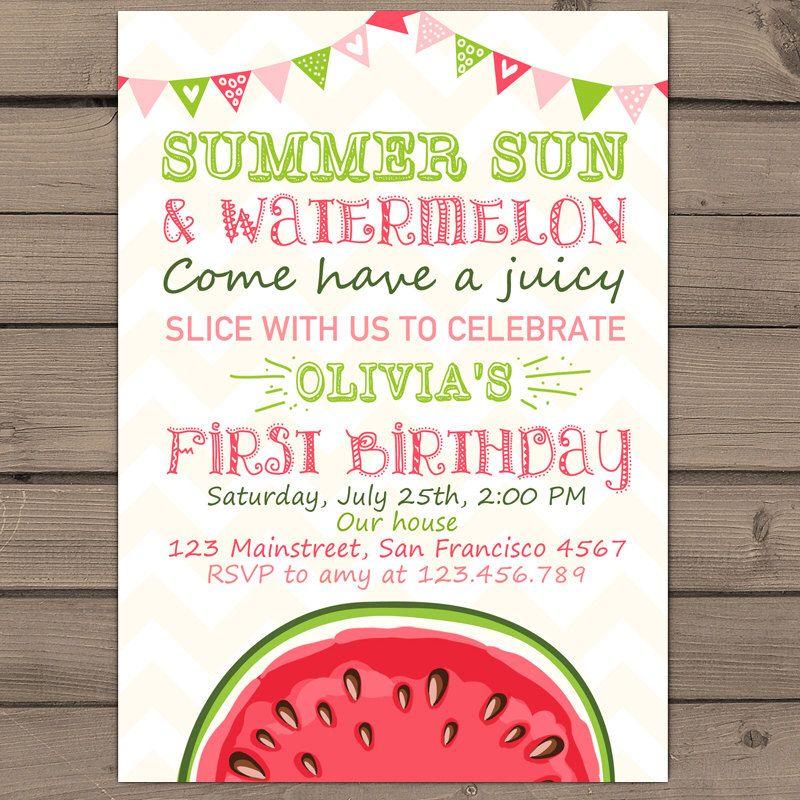 watermelon sweet birthday invitation - watermelon themed first, Birthday invitations